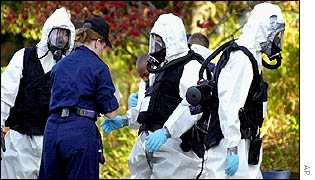 Biohazard investigators at the Senate on Sunday