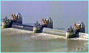 The Thames Barrier in action