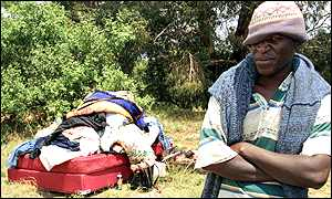 A homeless Zimbabwean with possessions