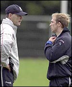 England coach Clive Woodward with his captain Matt Dawson