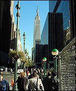 View to the east from Penn Station to Empire State Building