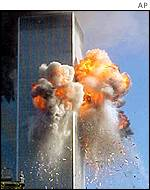 The World Trade Center after being hit by one of the planes