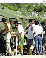 Asylum seekers at a camp on Nauru