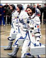 Claudie Haigner�, the second female astronaut to visit the ISS, and her Russian colleagues