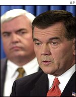 Director of Homeland Security Tom Ridge with Postmaster General John Potter in Washington on Monday
