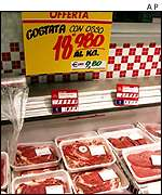 Meat counter with prices in lira and euro