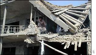 A house destroyed in the capital Kabul