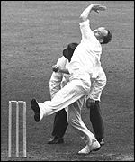 Frank Tyson bowled with fearsome pace