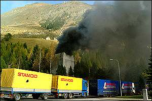 Lorries stuck outside Gotthard tunnel in Airolo, Switzerland
