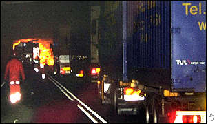 Lorries blocked by the fire