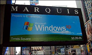 Windows XP launch banner on hotel marquee