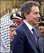 Palestinian leader Yasser Arafat and British PM Tony Blair