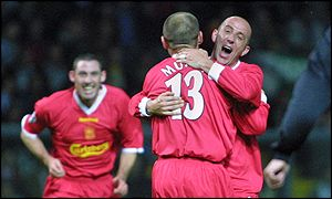 McAllister congratulates Murphy on his first-half goal