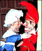 John Major and Tony Blair as Punch and Judy