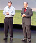 Microsoft Chairman Bill Gates and New York Mayor Rudolph Giuliani