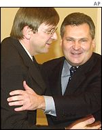 Guy Verhofstadt of Belgium and Aleksander Kwasniewski of Poland
