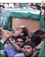Funeral of one of three Hamas militants killed by Israeli soldiers as they were trying to infiltrate a Gaza settlement