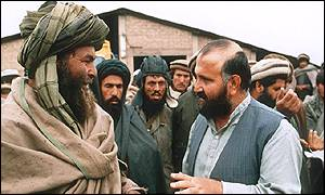 Abdul Haq, with an unidentified field commander in Kabul in 1992