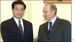 Hu Jintao and Vladimir Putin