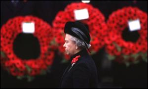 Queen Elizabeth II at Remembrance Day service