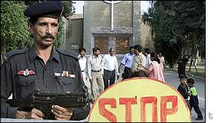 Police outside a church in Pakistan