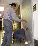 Mailroom door at Senate is sealed