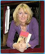 JK Rowling on the Hogwarts Express