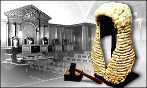 Wig, gavel and court graphic