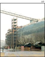 Kursk submarine in drydock