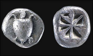 Early coins bearing the turtle of Aegina