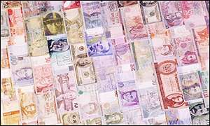 Collage of national currencies