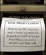 Mail drops are closed in Senate buildings