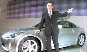 Nissan Motor President Carlos Ghosn with the new flagship sports Z car
