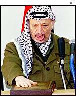 Arafat sworn in as PA president on 13 February 1996