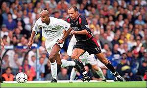 Oliver Dacourt and Uwe Rosler battle for the ball earlier in the season