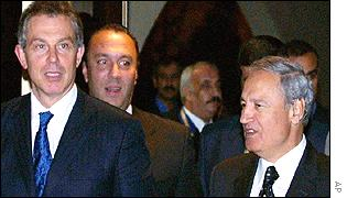 British Prime Minister Tony Blair with Syrian Foreign Minister Faruq al-Shara in Damascus on Monday