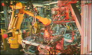 Toyota cars under construction by robots