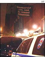 NYC police car parked in front of Manhattan Eye Ear and Throat Hospital