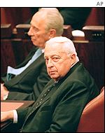 Shimon Peres (left) and Ariel Sharon