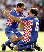 Croatia celebrate at the 1998 World Cup