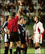 David Beckham sees red against Argentina in the second round