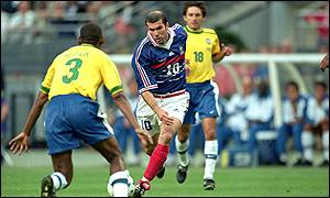 France captain Zinedine Zidane during the 1998 World Cup final