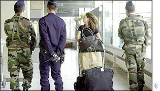 French police patrol at airport