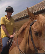 Sandra rides a horse for the first time since 1993