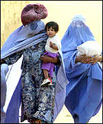 Afghan women refugees in camp near Peshawar, Pakistan
