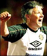 Steve Perryman celebrates a goal by his team Kashina Reysol