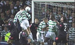 Chris Sutton heads Celtic into a 2-1 lead