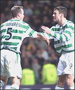 Joos Valgaeren congratulated by Chris Sutton