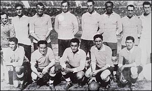 The Uruguayan team line up for the inaugural World Cup final