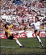 Gary Lineker scores one of his three goals against Poland
